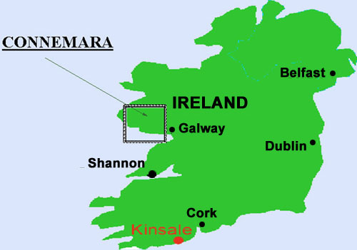 showing the location of Connemara in Ireland